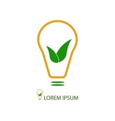 Bulb with green leaves as eco energy sign vector image