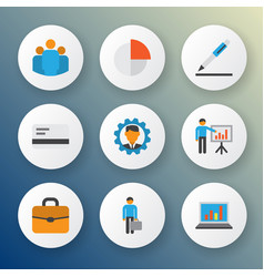 business icons flat style set with team business vector image