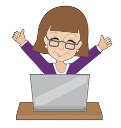 Business Lady Laptop vector image