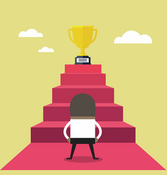 businessman standing in front of stair to trophy vector image