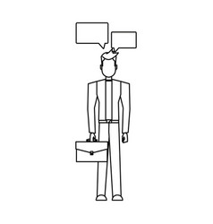 businessman with briefcase and speech bubbles vector image