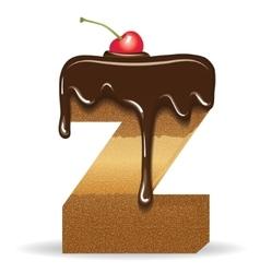 Cake letter Z- birthday font vector