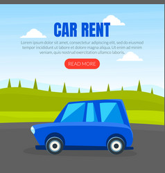 car rent landing page template car on background vector image