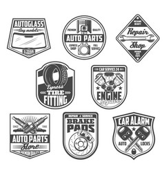 car service and spare parts store icons vector image