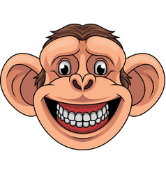 cartoon monkey head mascot vector image