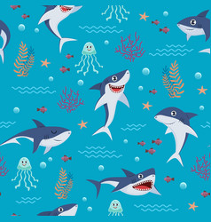 cartoon sharks pattern seamless background vector image