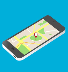 Cellular phone and map isometric vector