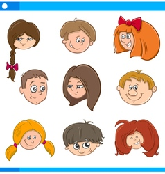 children cartoon characters set vector image