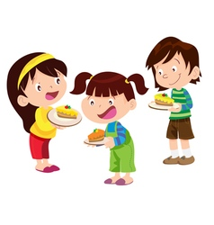 Children have cake vector