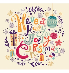 christmas with festive decorations and text vector image