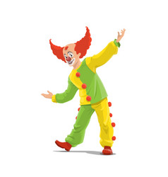 clown big top circus shapito clown in red wig vector image
