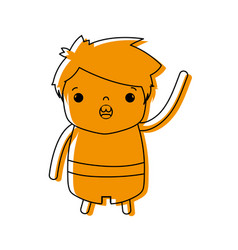 Color boy with hairstyle design and amazed face vector