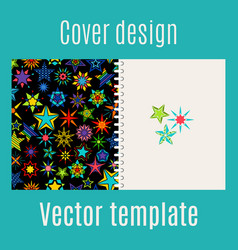 cover design with kaleidoscope stars vector image