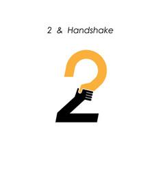 Creative 2- number icon abstract logo design vector