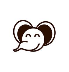 cute face elephant animal cartoon icon thick line vector image
