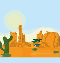 Desert landscape cartoon vector