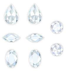 Diamond Set Isolated Objects vector