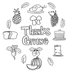 Doodle of thanksgiving element style vector