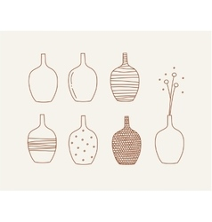 Doodle vases and flower design vector image