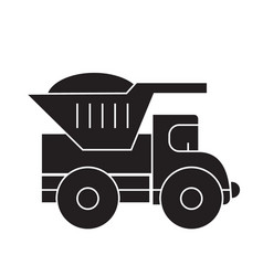 dump truck black concept icon dump truck vector image