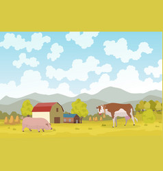 eco farming meadow eco natural vector image
