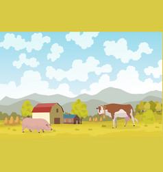 eco farming meadow natural vector image