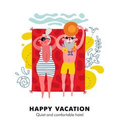 Elderly beach vacation poster vector