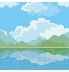 Exotic seamless landscape sea and mountains vector image