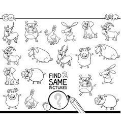 Find two same farm animals coloring book vector