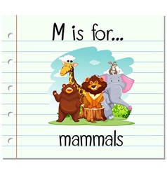 Flashcard letter M is for mammals vector