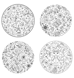 floral hand drawn patterns vector image