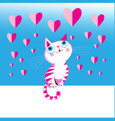 funny love kitten with a heart vector image