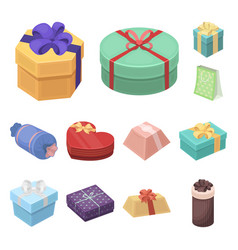 gift and packing cartoon icons in set collection vector image