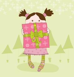girl with present chrismas card vector image