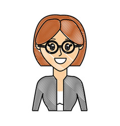 Grated woman with elegant blouse wearing glasses vector