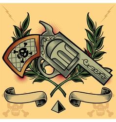 Gun Wreath Ribbons and Pyramid vector