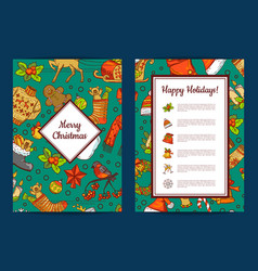 hand drawn colored christmas elements with vector image