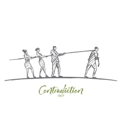 Hand drawn people pulling rope to different sides vector