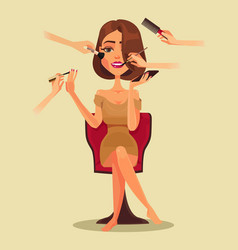 happy smiling woman character beauty salon vector image
