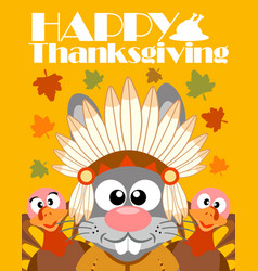 Happy thanksgiving day backgroundwith rabbit indi vector