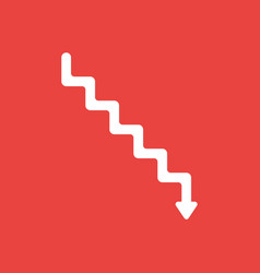 Icon concept of stairs with arrow moving down on vector
