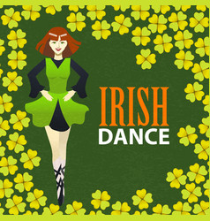 Irish dance studio template in cartoon style vector