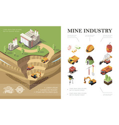 isometric mining industry concept vector image