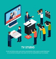 isometric studio television background vector image
