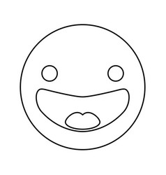 Line happy face emoji icon vector