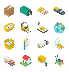 logistics delivery isometric icons pack vector image