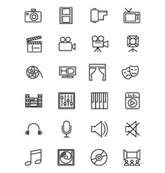 Media and Advertisement Line Icons 1 vector