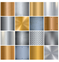 Metal texture realistic big icons set vector