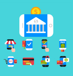 mobile payments icons smartphone vector image