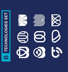 Modern professional set logos b technology in blue vector